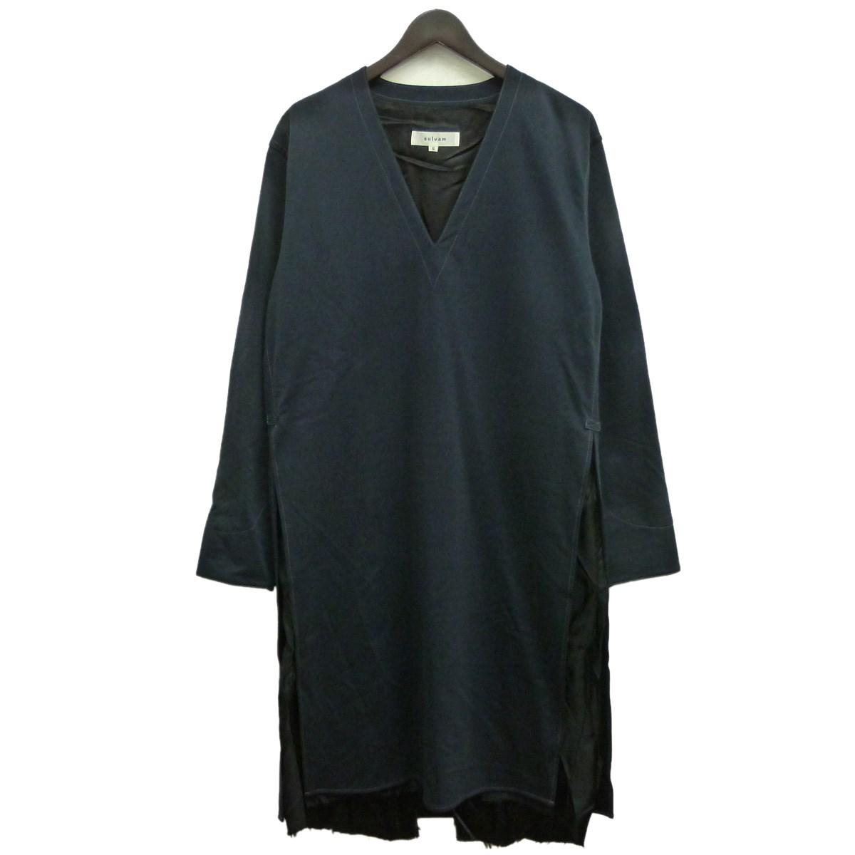 【中古】SULVAM サイドスリットVネックオーバーサイズコート ブラック サイズ:S 【261119】(サルバム)