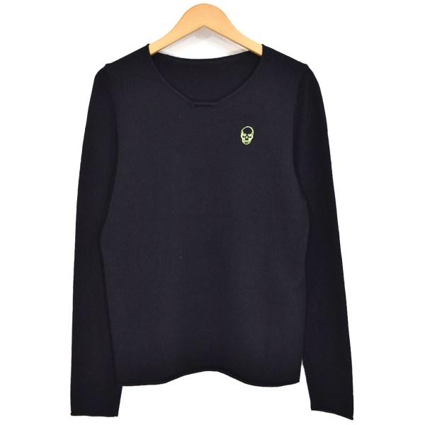 【中古】LUCIEN PELLAT-FINET スカル刺繍カシミヤニット ブラック サイズ:S 【271119】(ルシアンペラフィネ)