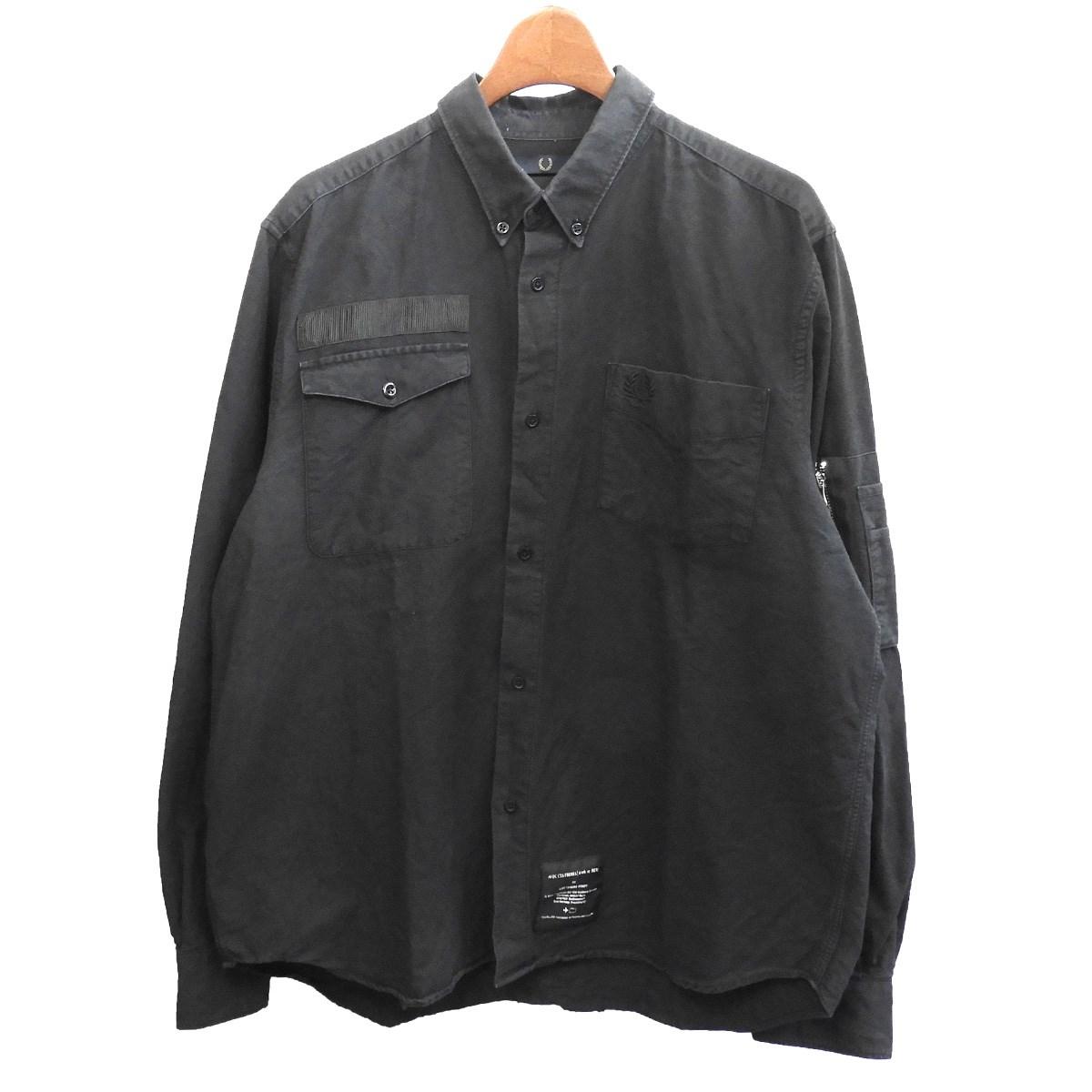 【中古】ART COMES FIRST × FRED PERRY ボタンダウンシャツ ブラック サイズ:42 【291119】(アートカムズファースト フレッドペリー)