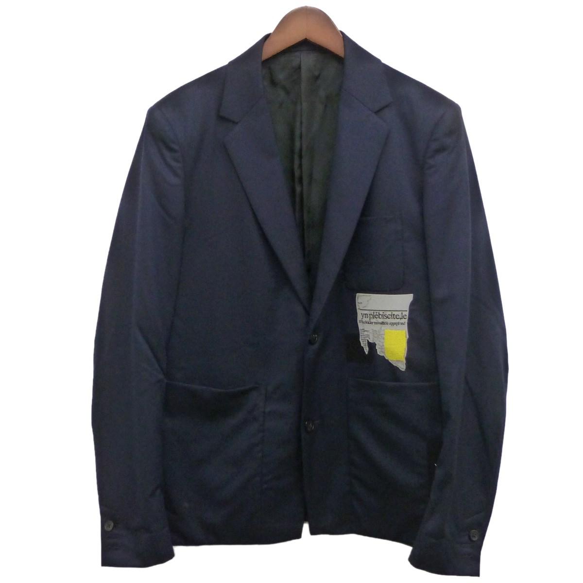 【中古】ALMOSTBLACK 17AWパッチワークテーラードジャケット ネイビー サイズ:1 【281119】(オールモストブラック)