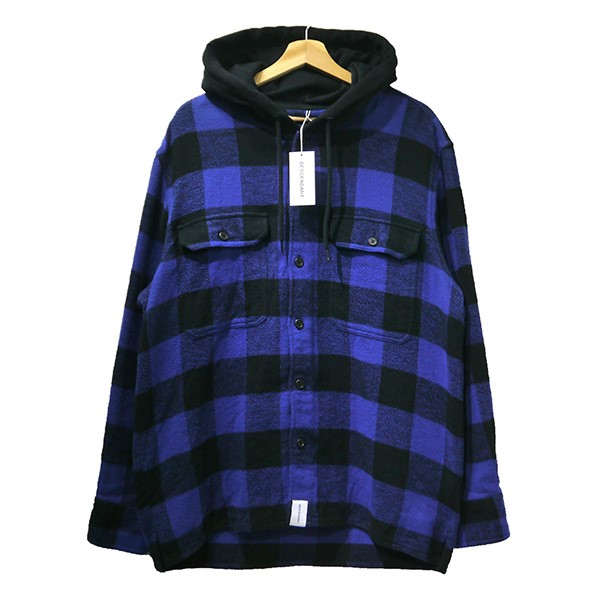 【中古】DESCENDANT2019SS SPICOLI HOODED LS SHIRT 191TQDS-SHM01 ブルー×ブラック サイズ:2