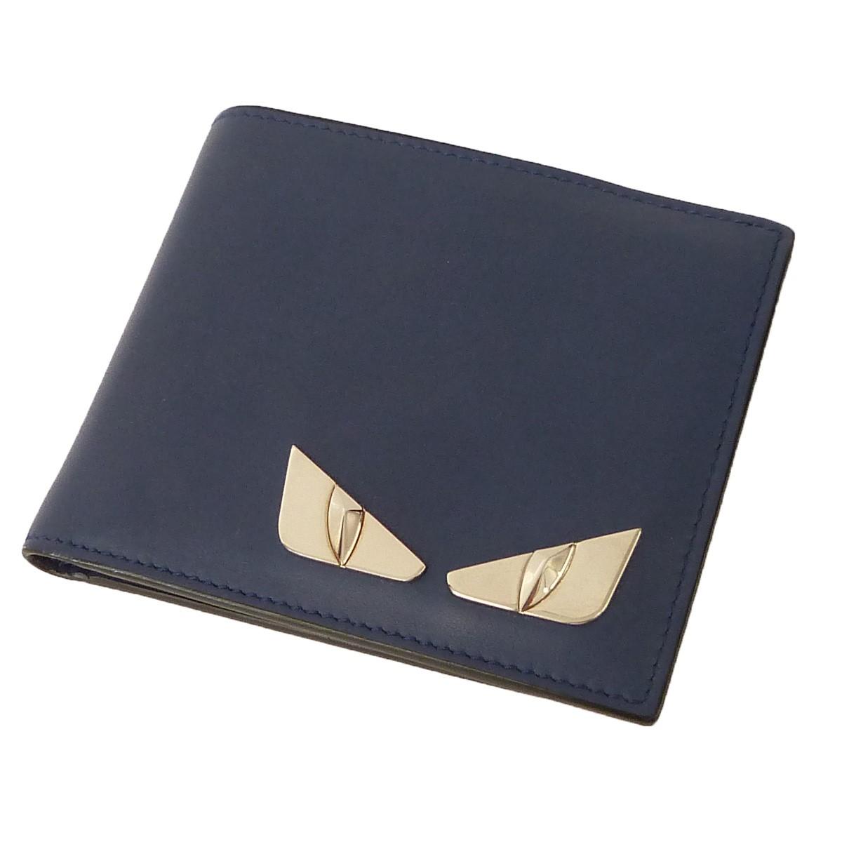 【中古】FENDI バッグバグス2つ折り財布 ネイビー サイズ:- 【011219】(フェンディ)