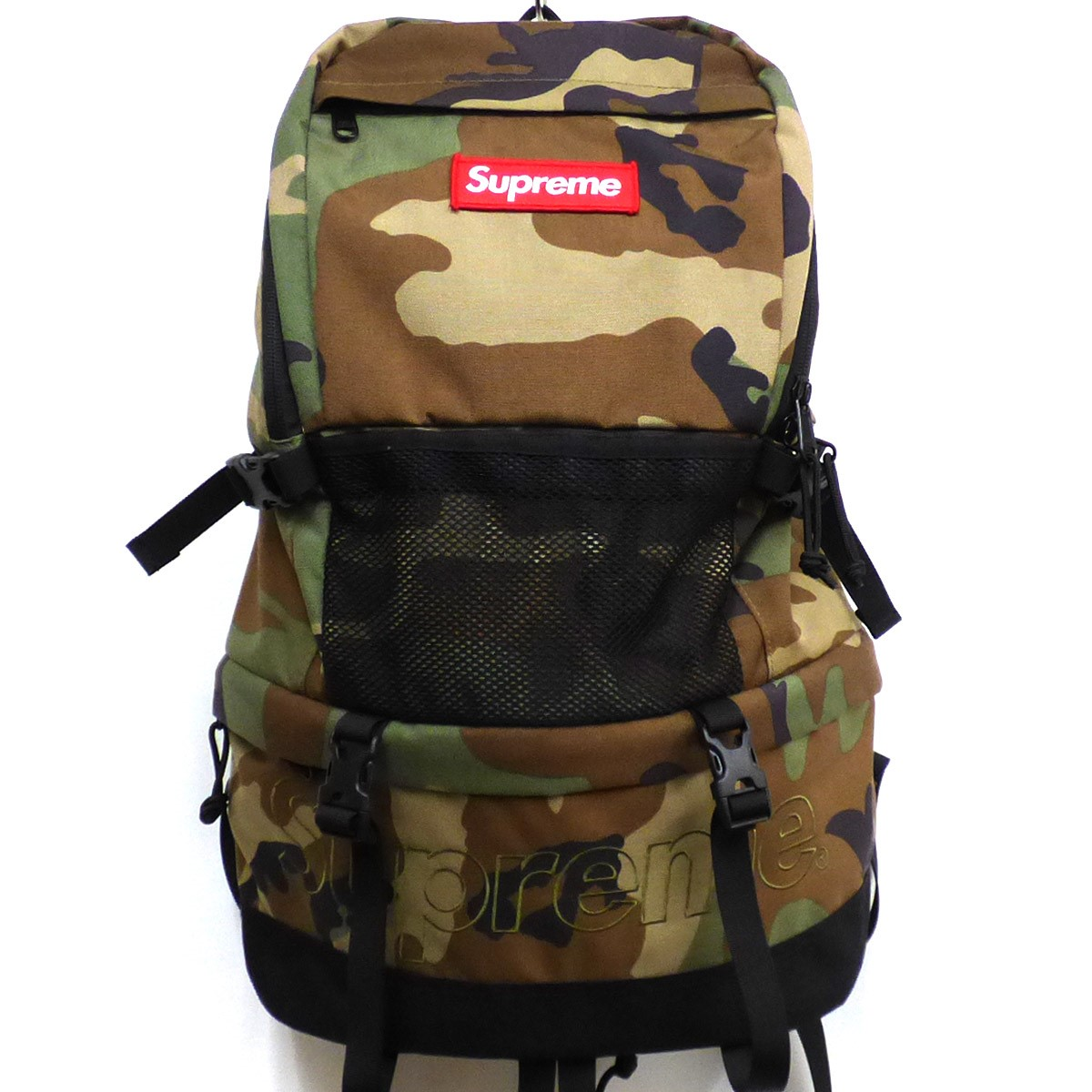シュプリーム 【中古】SUPREME 15AW Contour Backpack Camo Box Logoボックスロゴバックパックバッグ カーキ サイズ:- 【031219】(シュプリーム)