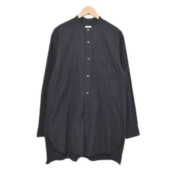 【中古】COMOLI 16AW チョークストライプ バンドカラーシャツ J03-02002 【494864】 【KIND1884】