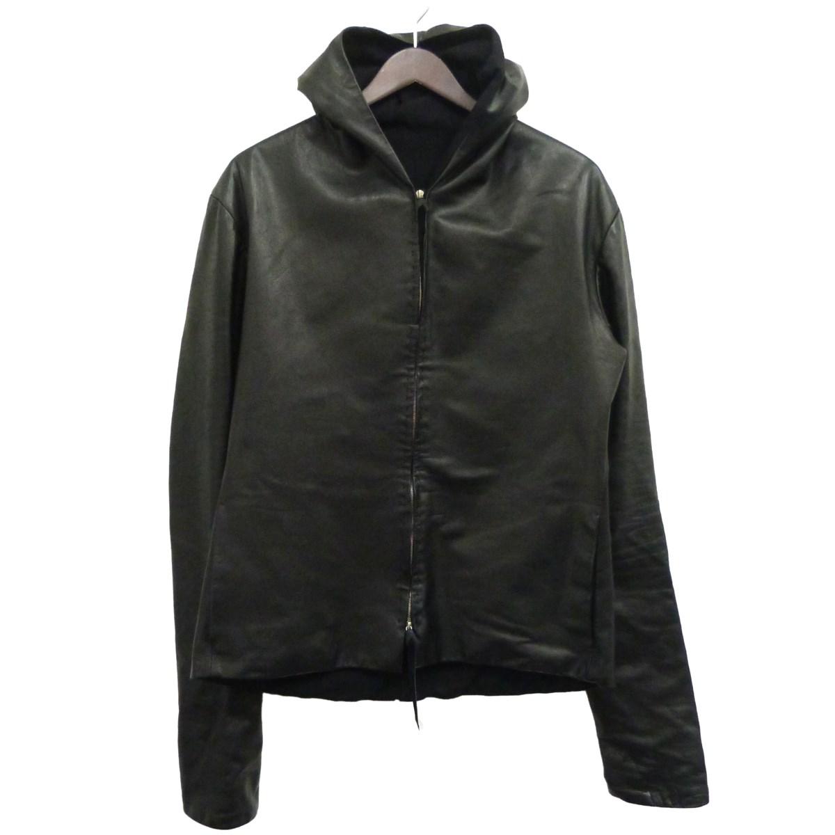 【中古】M.A.CROSSレザーフーデッドジャケット ブラック サイズ:- 【4月27日見直し】