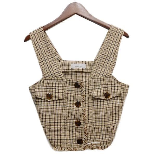 【中古】PHEENY19SS「Linen Check Camisole Tops」リネンチェックキャミソールトップス ベージュxブラウン サイズ:2
