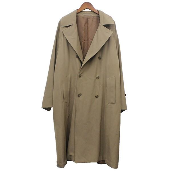 【中古】COMOLI 2019SS ウールギャバダブルブレステッドコート ベージュ サイズ:2 【061219】(コモリ)