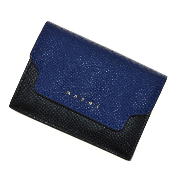 【中古】MARNI PFMOW02U09 バイカラー 三つ折り財布 ブルー×レッド 【081219】(マルニ)