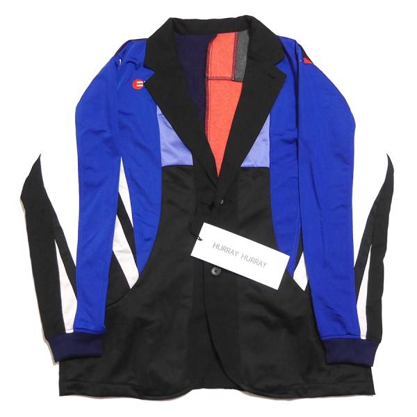 【中古】HURRAY HURRAY JERSEY JACKET ジャージ テーラード ジャケット ブラック×マルチ サイズ:2 【091219】(フレイフレイ)