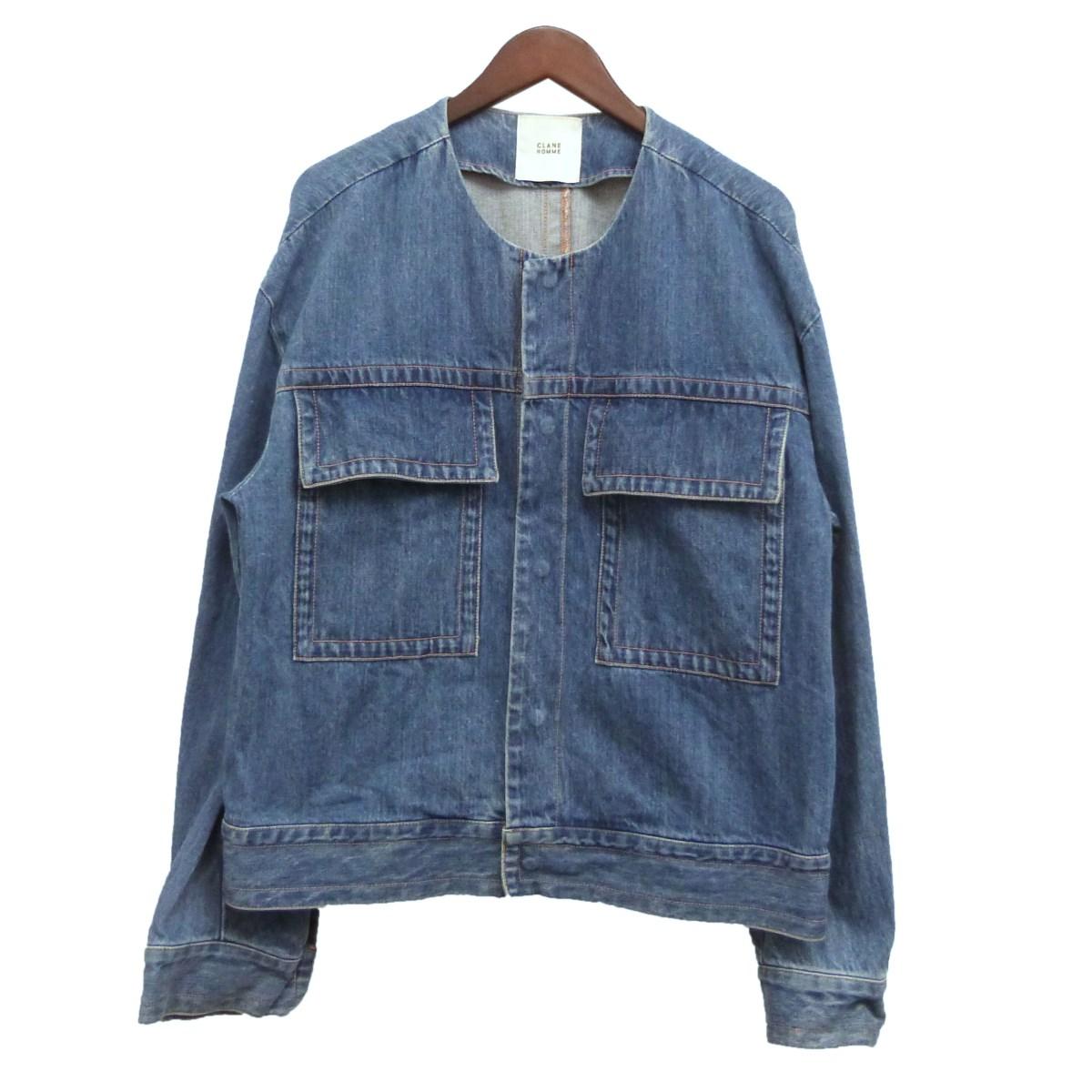 【中古】CLANE HOMME ノーカラーデニムジャケット インディゴ サイズ:2 【111219】(クラネオム)