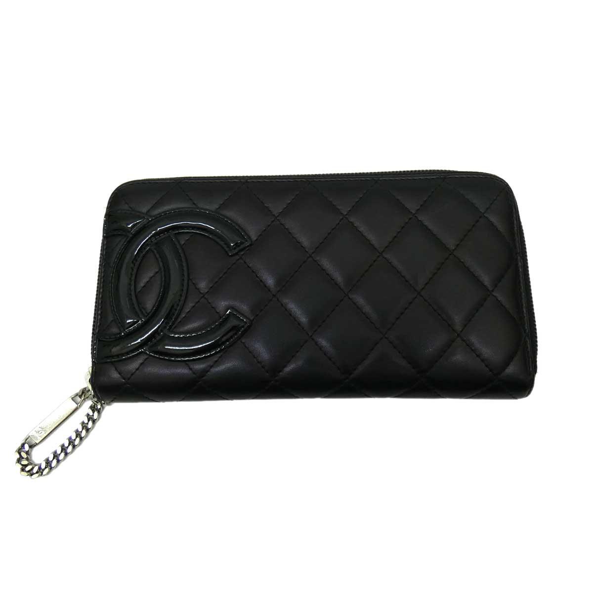 【中古】CHANELカンボン A50078 長財布 ブラック