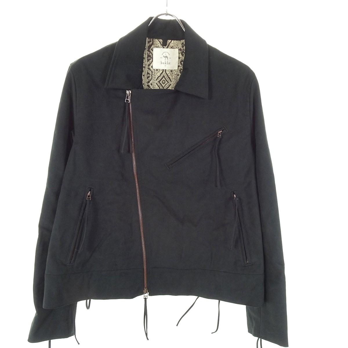 【中古】bukht 「lamous motor cycle jacket」 フリンジスウェード調ジャケット ブラック サイズ:- 【151219】(ブフト)