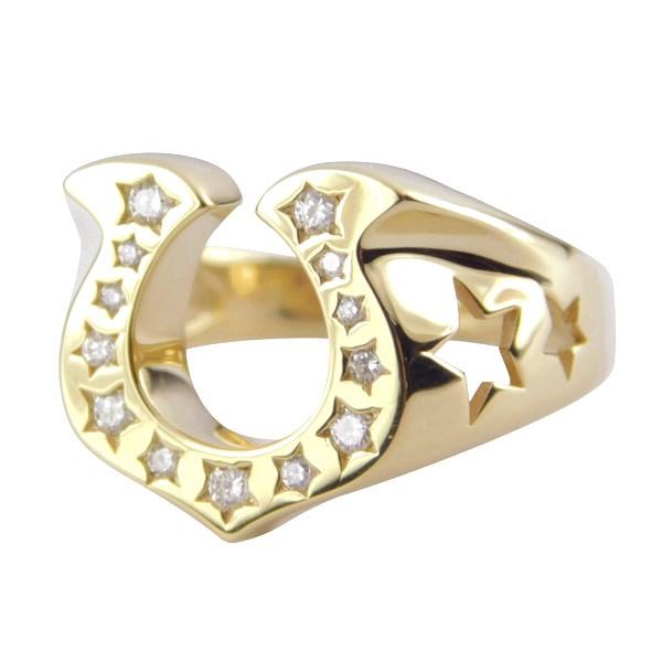 【中古】K18 ホースシューリング ダイヤ ゴールド 馬蹄 リング 指輪 ゴールド サイズ:14号 【141219】(18金)