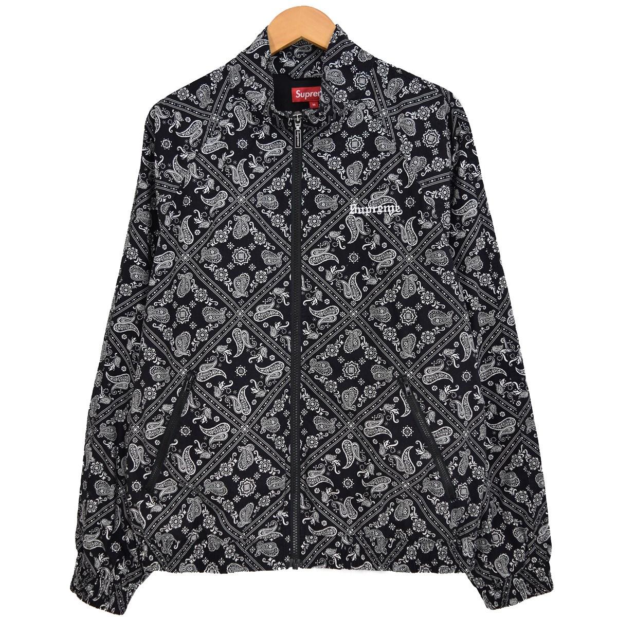 【中古】SUPREME BANDANA TRACK JACKET バンダナトラックジャケット 2018SS ブラック サイズ:M 【141219】(シュプリーム)