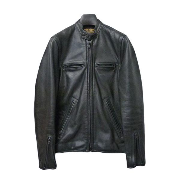 【中古】VANSONシングルライダースジャケット ダブルジップレザーブルゾン ブラック サイズ:34【1月20日見直し】