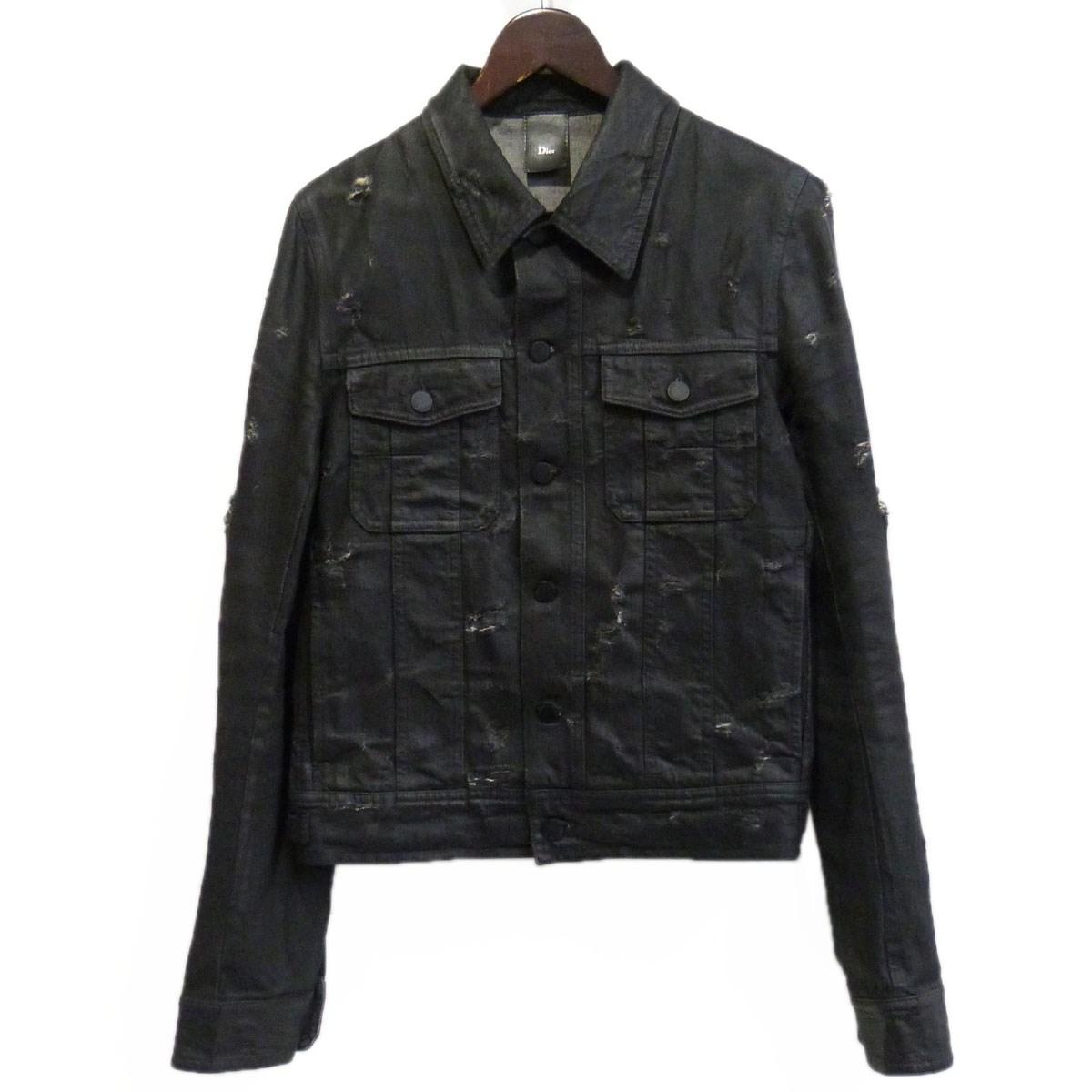 【中古】Dior Homme 04SS strip期 デストロイコーティングデニムジャケット ブラック サイズ:46 【171219】(ディオールオム)