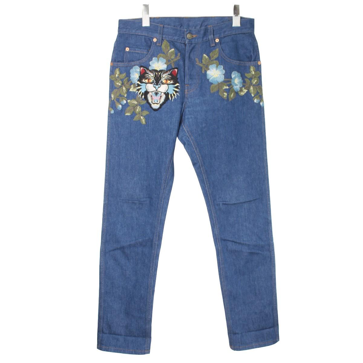 【中古】GUCCI17SS アングリーキャット 刺繍デザインデニムパンツ インディゴ サイズ:30【2月3日見直し】