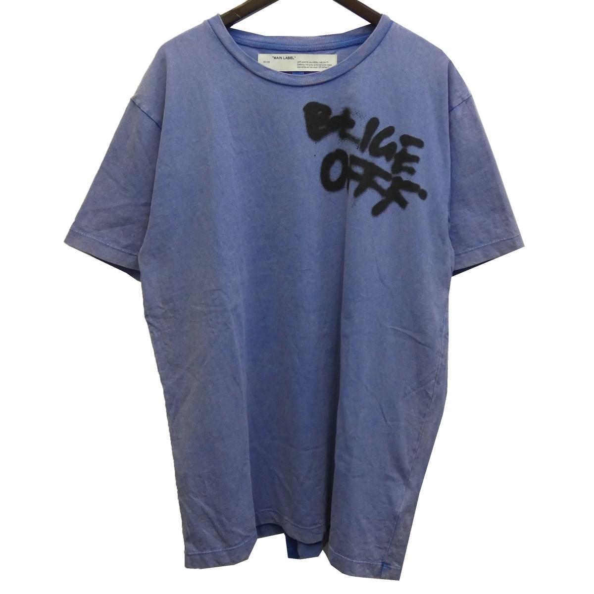【中古】OFFWHITE19AW「SPRAY BLURED S/S SLIM TEE」ヴィンテージ加工ロゴプリントTシャツ ライトブルー サイズ:XL