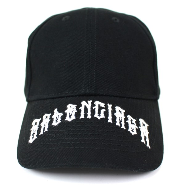 【中古】BALENCIAGA 2019SS タトゥーキャップ 刺繍 帽子 ブラック、ホワイト サイズ:L(59cm) 【211219】(バレンシアガ)