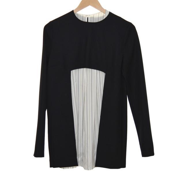 【中古】Martin Margiela114AW Layered Shirt Sweater レイヤードニット ブラックxホワイト サイズ:40