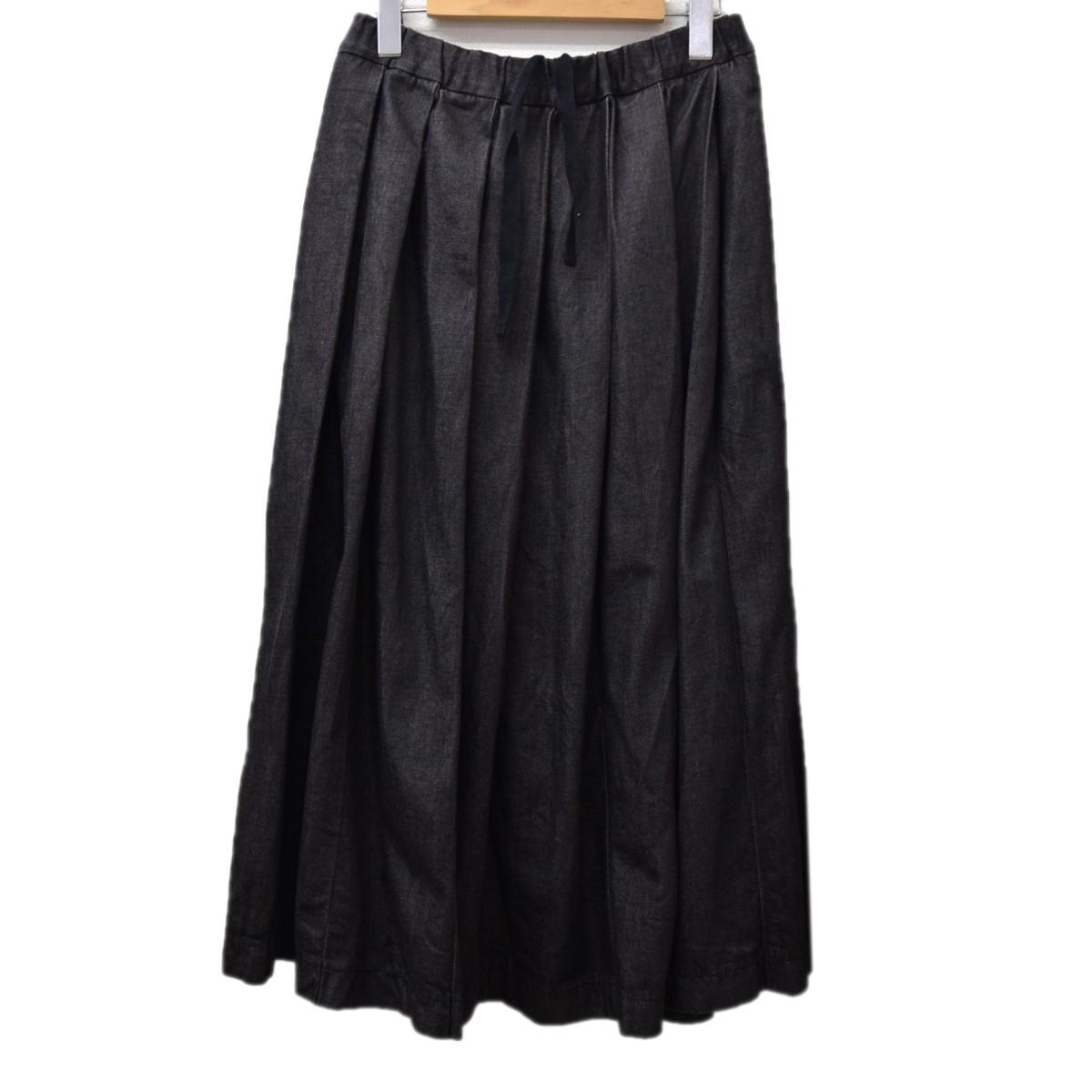 【中古】NIGEL CABOURN プリーツロングデニムスカート ブラック サイズ:F 【221219】(ナイジェルケーボン)