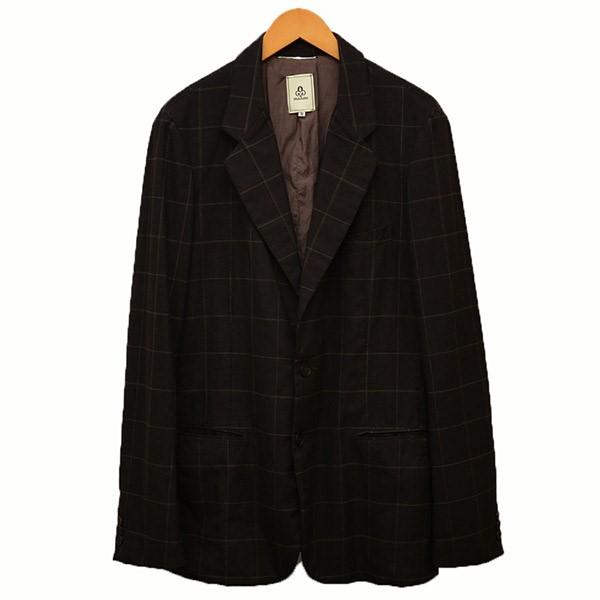 【中古】mandoチェック柄 2B テーラードジャケット ジャケット ブラウン サイズ:3 【3月12日見直し】