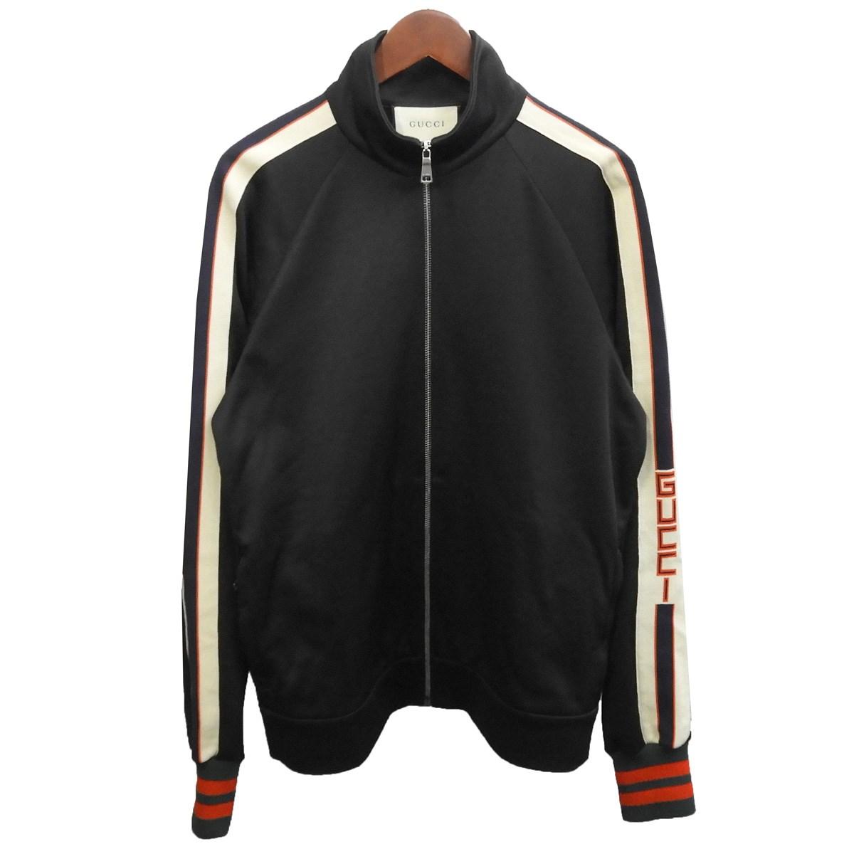 【中古】GUCCI テクニカルジャージジャケット ブラック サイズ:M 【251219】(グッチ)