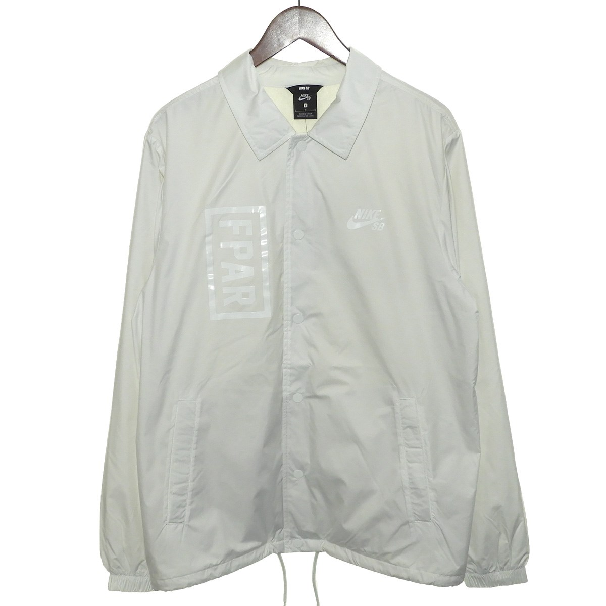【中古】FPAR×NIKE SB2019AW コーチジャケット ホワイト サイズ:L【2月27日見直し】