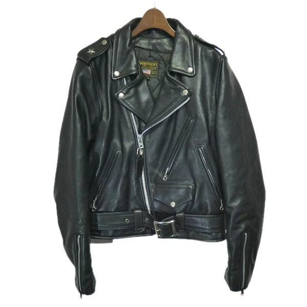 【中古】VANSONダブルライダースジャケット ブラック サイズ:38 【4月27日見直し】
