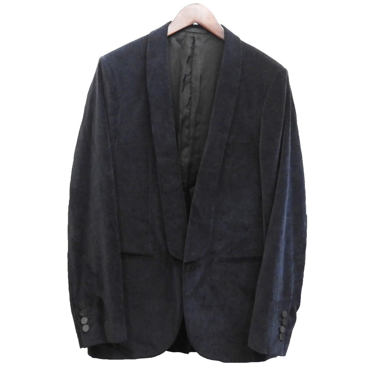【中古】LANVIN ベロアテーラードジャケット ネイビー サイズ:46 【261219】(ランバン)