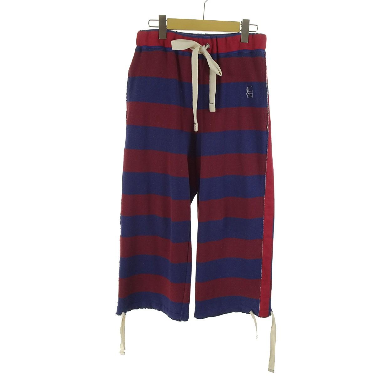 【中古】FACETASM CUT OFF WIDE SWEAT PANTS ネイビー×レンガ サイズ:- 【261219】(ファセッタズム)