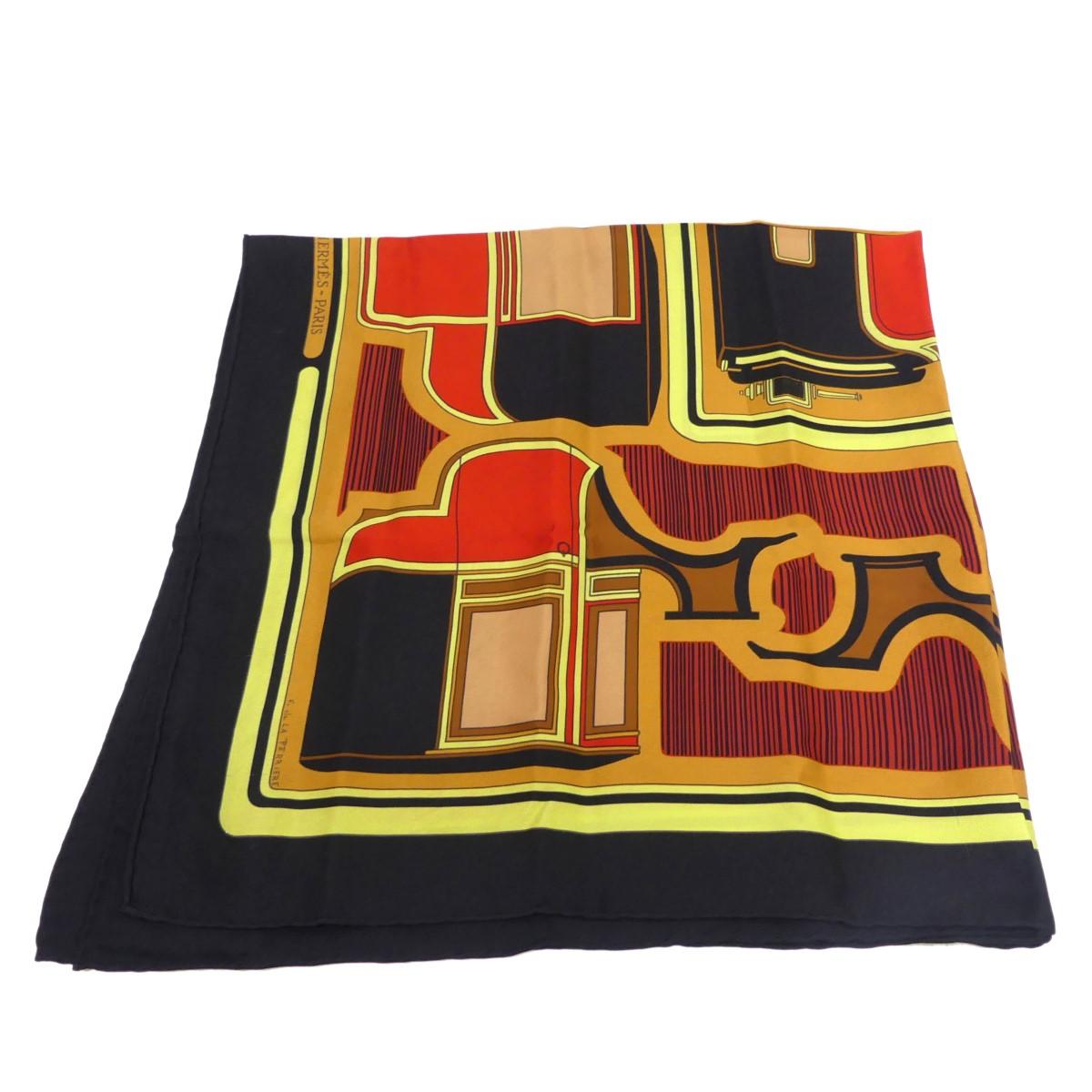 【中古】HERMES カレ70 LES COUPES スカーフ ブラック サイズ:- 【281219】(エルメス)