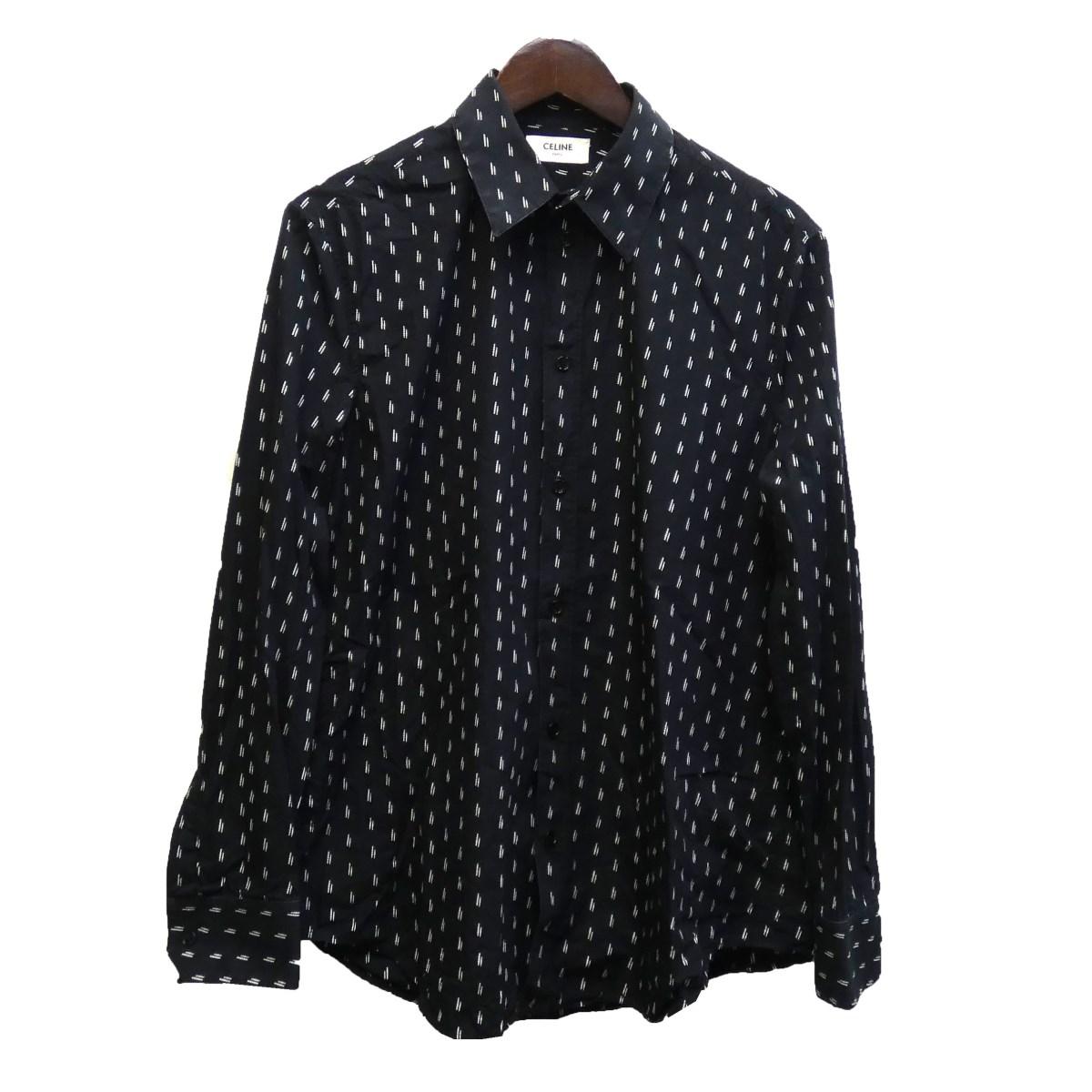【中古】CELINE19SS 総柄シャツ ブラック サイズ:40