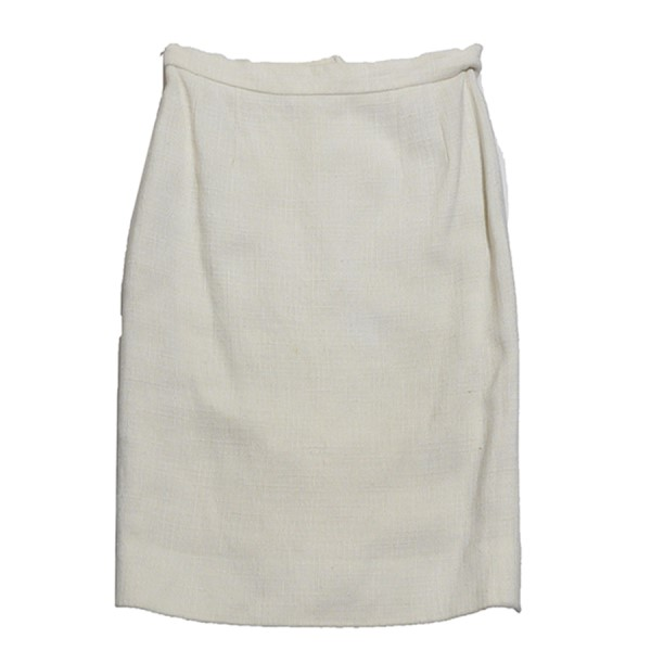 【中古】CHANEL サマーツイードスカート アイボリー サイズ:42 【271219】(シャネル)