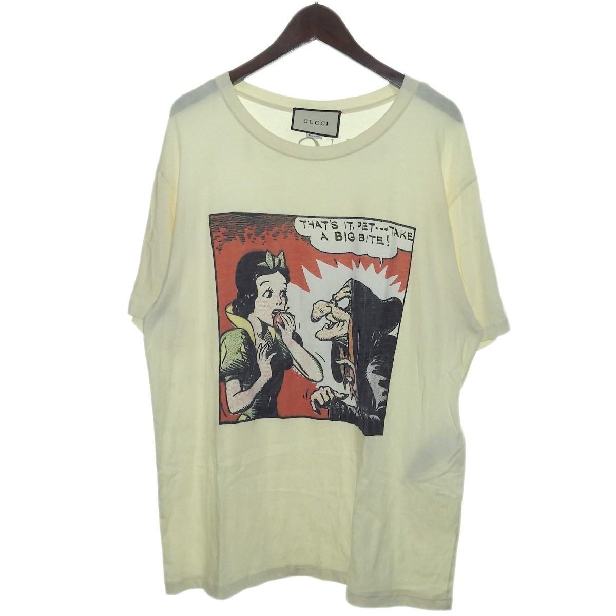 【中古】GUCCI 2018SS 白雪姫プリントTシャツ ホワイト サイズ:XL 【301219】(グッチ)