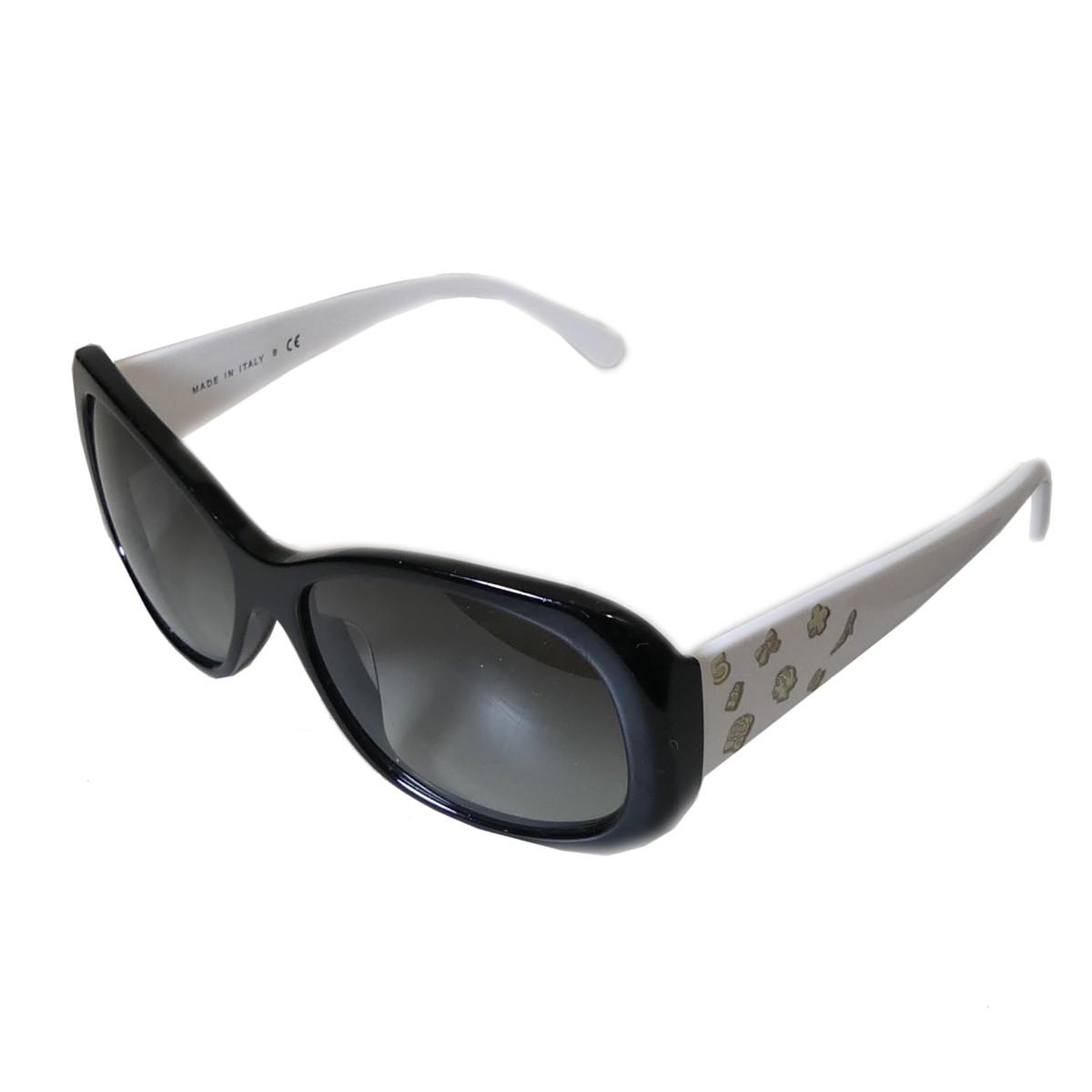 【中古】CHANEL スクエア フレーム 眼鏡 ホワイト×ブラック サイズ:55□15-135 【030120】(シャネル)