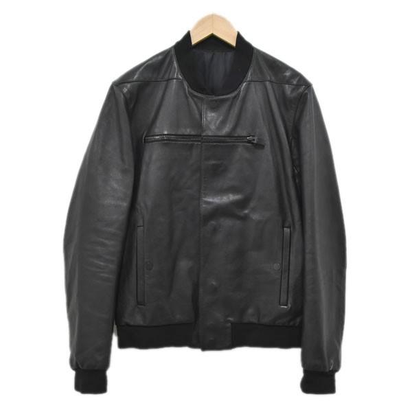 【中古】BALENCIAGAフロントジップデザインレザージャケット 412633 TQH05 ブラック サイズ:46 【4月23日見直し】
