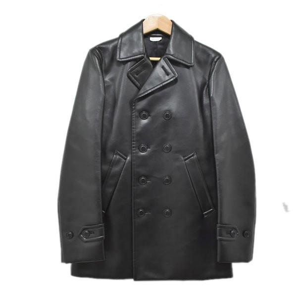 【中古】COMME des GARCONS HOMME PLUSバックプリント フェイクレザー Pコート ブラック サイズ:XS 【4月27日見直し】