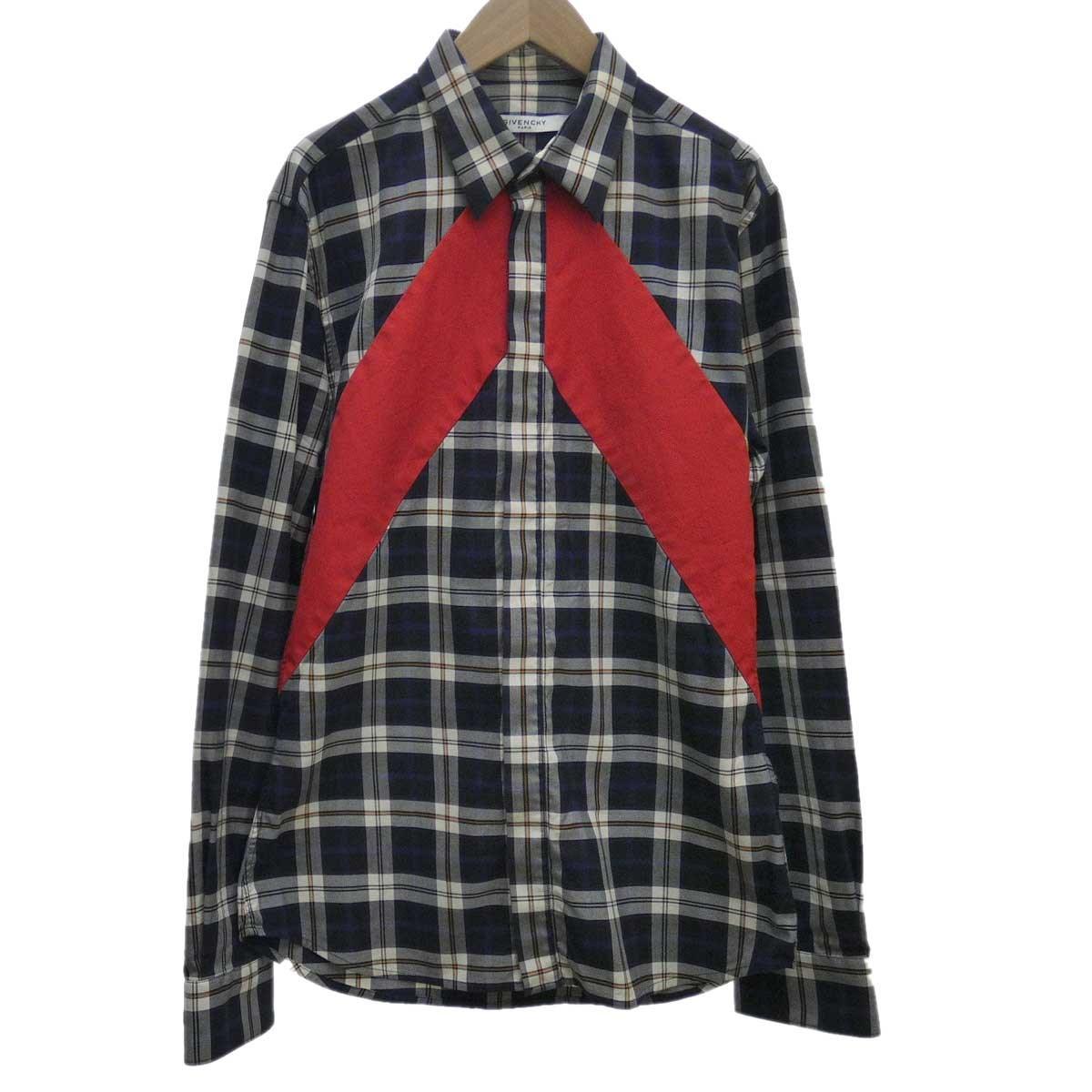 【中古】GIVENCHY チェック切替デザインシャツ ネイビー サイズ:39 【050120】(ジバンシィ)