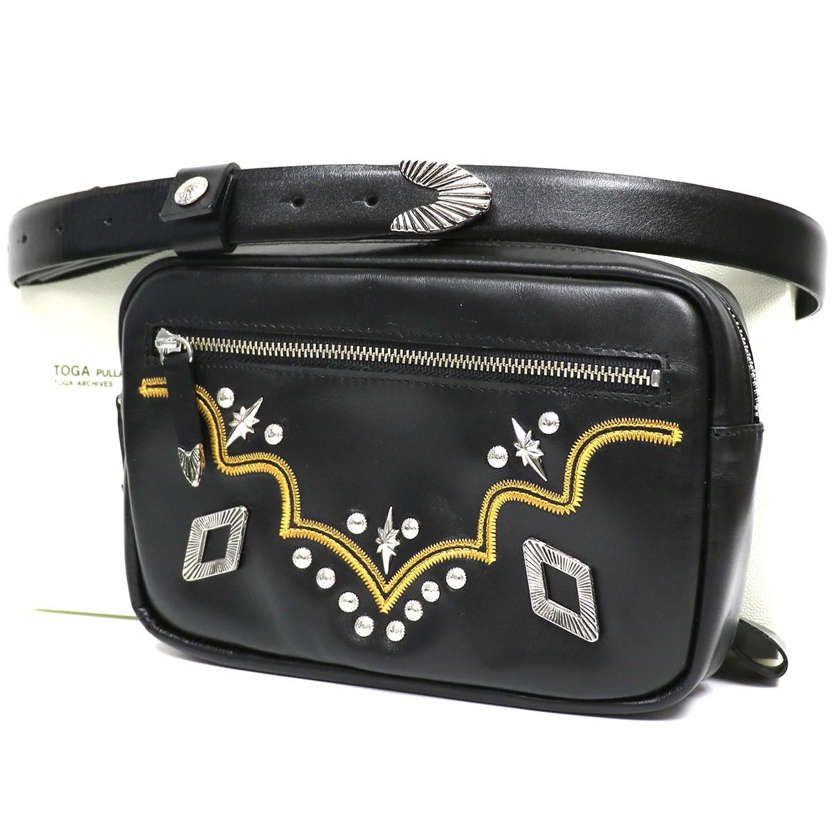 トーガ プルラ 【中古】TOGA PULLA 19SS Metal Stitch belt Bagレザーウエストショルダーバッグ ブラック サイズ:- 【050120】(トーガ プルラ)