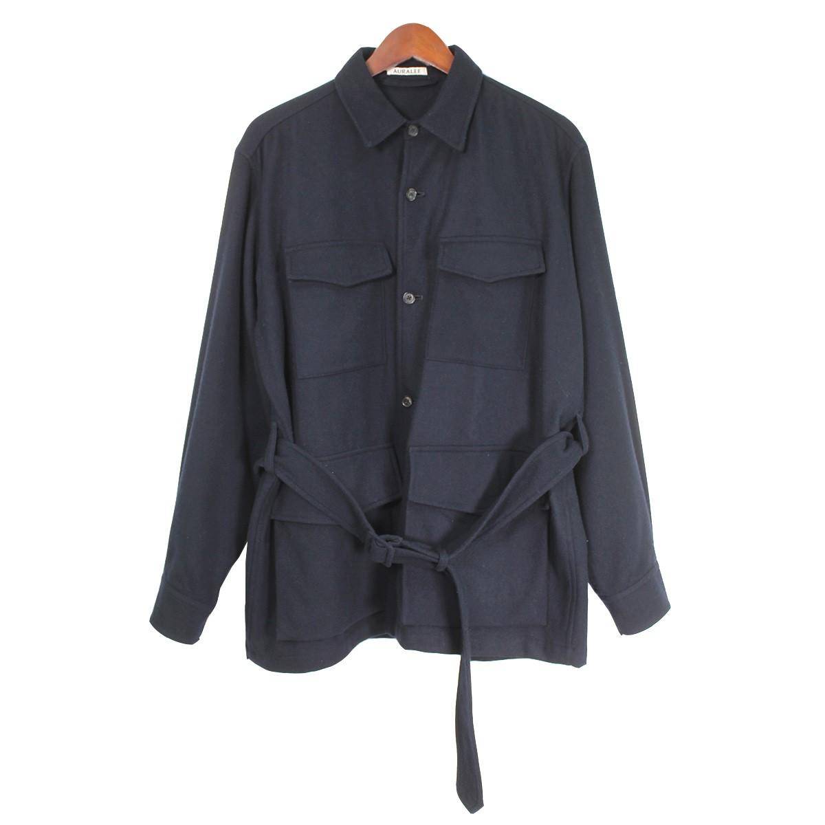 【中古】AURALEE16AW SUPER SOFT FLANNEL SAFARI SHIRT ウールベルテッドシャツ ネイビー サイズ:4 【3月30日見直し】
