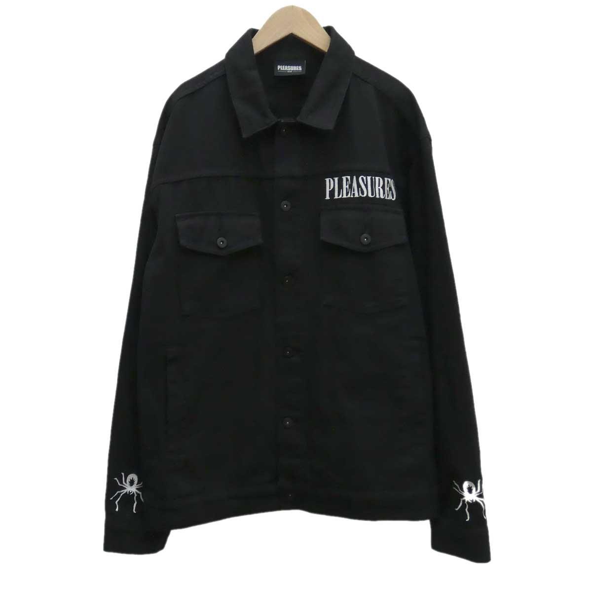 【中古】PLEASURES スパイダーデニムジャケット ブラック サイズ:L 【080120】(プレジャーズ)