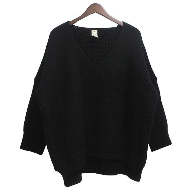 【中古】O project2019AW KNITTED V NECK Vネックウールニットセーター ブラック サイズ:M