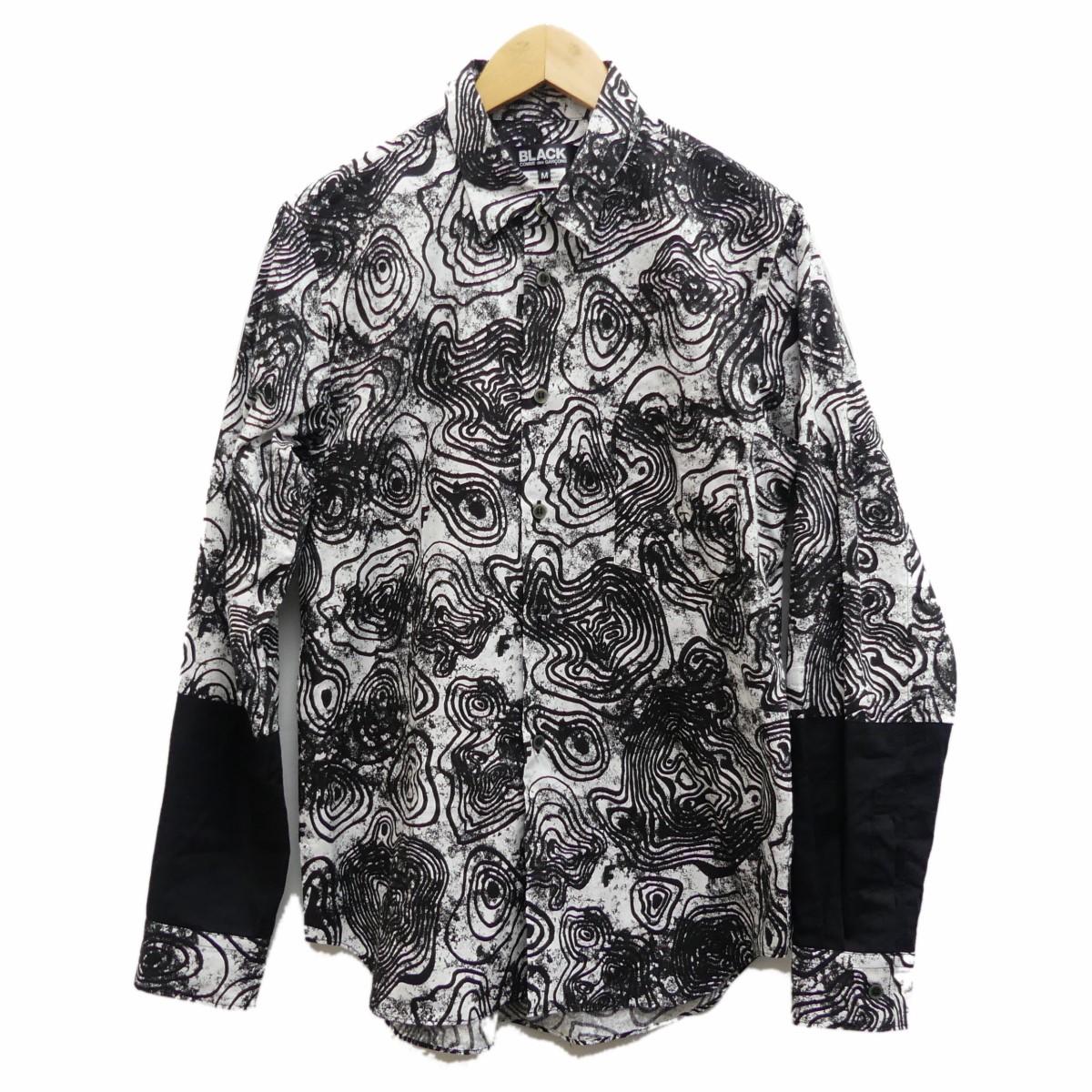 【中古】BLACK COMME des GARCONS 2018A/W 総柄シャツ ブラック サイズ:M 【120120】(ブラック コムデギャルソン)