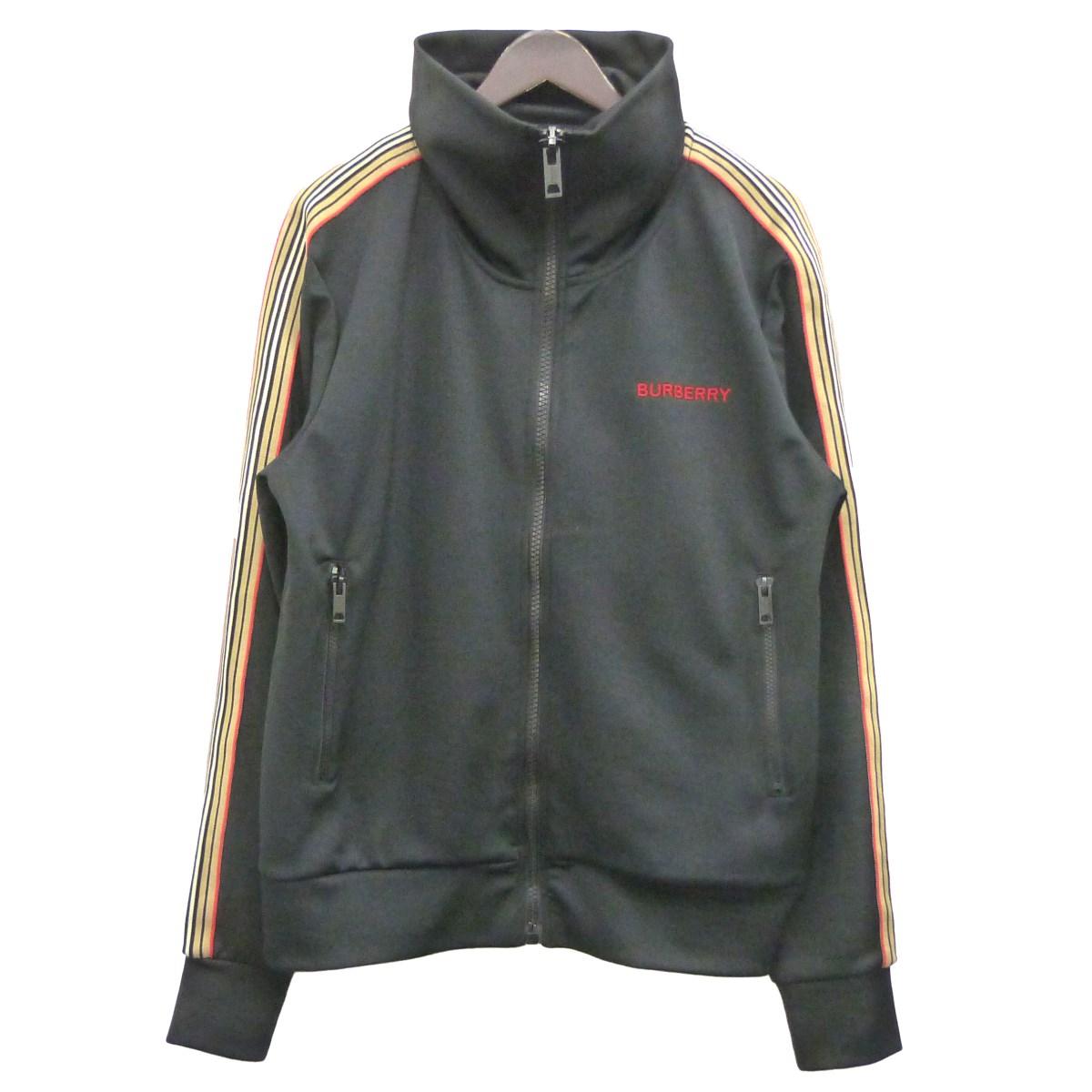 【中古】BURBERRYロゴ刺繍サイドライントラックジャケット ブラック サイズ:M 【4月16日見直し】