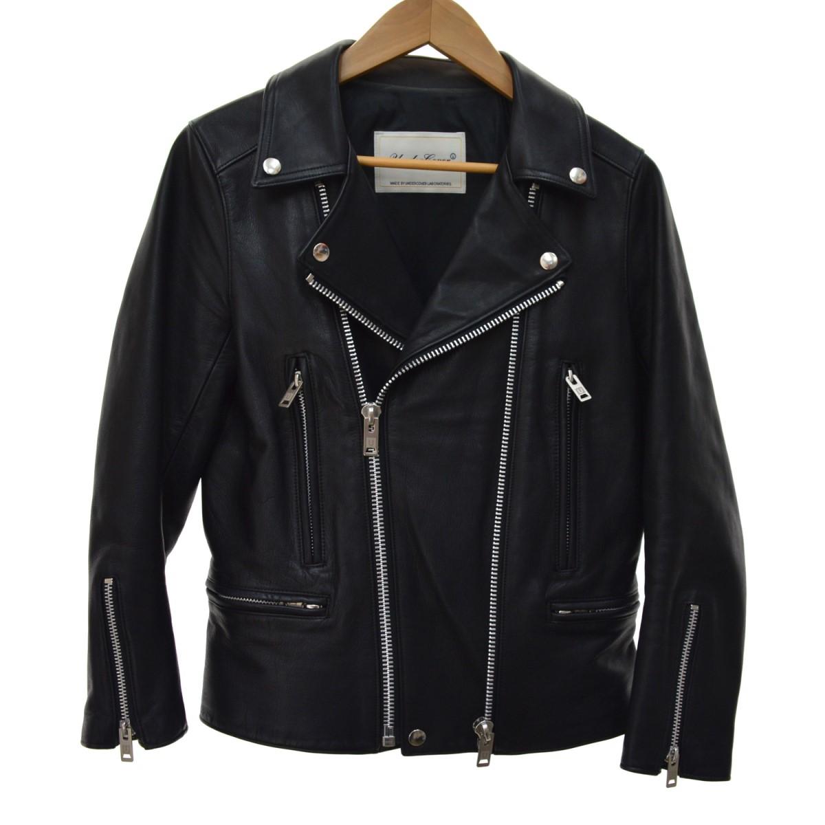 【中古】UNDERCOVER19SS BASIC ジップダブルライダースジャケット ブラック サイズ:2
