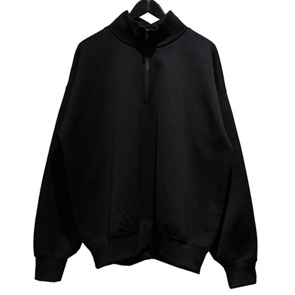 【中古】AURALEE 19AW BAGGY POLYESTER SWEAT HALF ZIP P/O ジップジャケット ブラック サイズ:5 【150120】(オーラリー)
