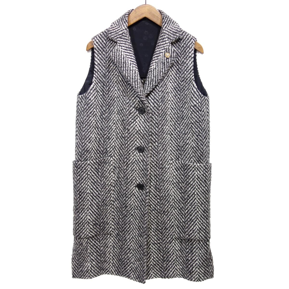 【中古】LARDINI ウールノースリーブ コート ブラック×ホワイト サイズ:38 【170120】(ラルディーニ)
