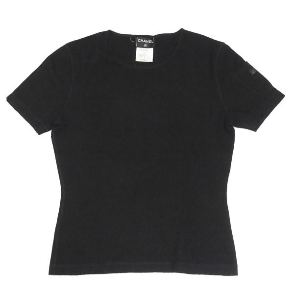 【中古】CHANEL カシミヤ アーム ポケット レザー ワッペン Tシャツ Tee カットソー ブラック サイズ:38 【160120】(シャネル)