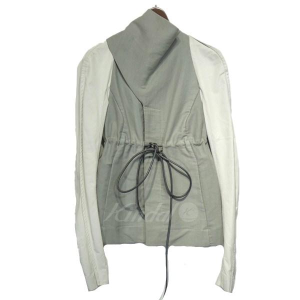 【中古】Rick Owens 袖レザー切替ジャケット グレー×ホワイト サイズ:38 【170120】(リックオウエンス)